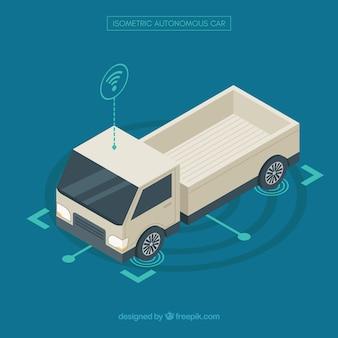 Vista isometrica della futuristica auto autonoma