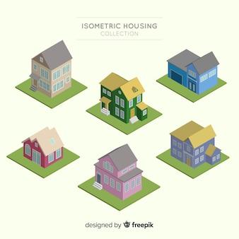Vista isometrica della moderna collezione di abitazioni