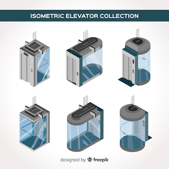 Vista isometrica della moderna collezione di ascensori