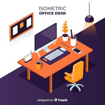 Vista isometrica della moderna scrivania