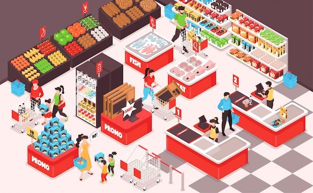 Vista isometrica interna del supermercato con frutta verdura drogheria pane pesce carne frigorifero mensole clienti cassiere