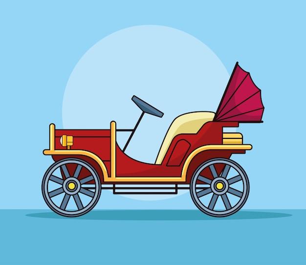 Vista laterale classica antica del veicolo di automobile