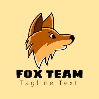 Vista laterale testa fox team con testo logo design