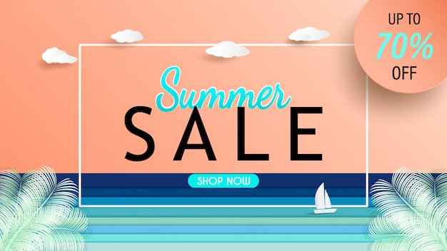 Vista mare e design banner vendita estate con carta tagliata.