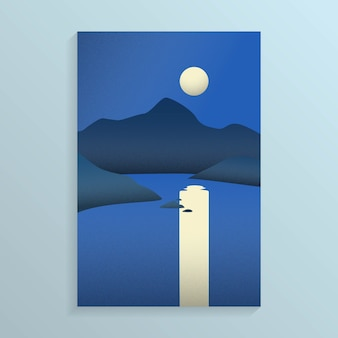 Vista notturna della costa del mare con isola con montagna e la luna piena in cielo con la riflessione sul mare