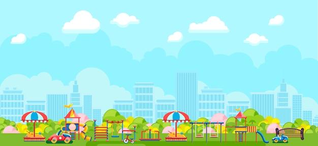 Vista panoramica del parco giochi della città nel parco
