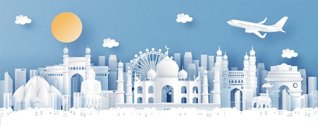 Vista panoramica dell'india e skyline della città con punti di riferimento di fama mondiale