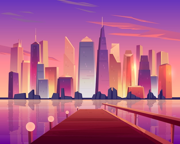 Vista panoramica dell'orizzonte della città dal pilastro di legno del lungomare accesa dalle lampade e dai grattacieli futuristici