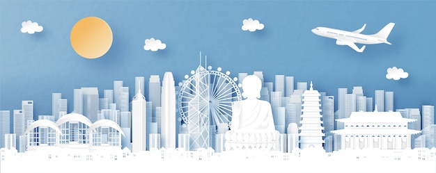 Vista panoramica dell'orizzonte di hong kong, della cina e della città con i punti di riferimento di fama mondiale