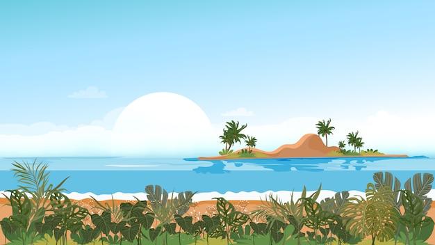 Vista panoramica vista sul mare tropicale di oceano blu e palme da cocco sull'isola, mare panoramico spiaggia e sabbia con cielo blu, illustrazione vettoriale stile piano natura del paesaggio mare per le vacanze estive