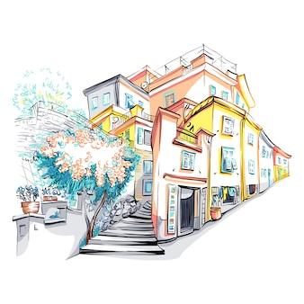 Vista pittoresca di case colorate nel villaggio di pescatori di manarola in cinque terre, parco nazionale delle cinque terre, liguria, italia.