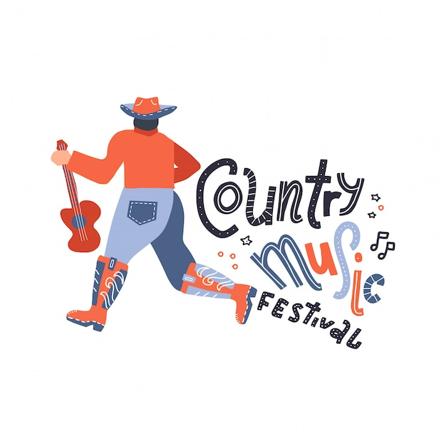 Vista posteriore del cantante in stile country con la chitarra