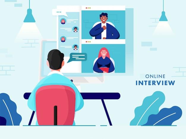 Vista posteriore dell'uomo d'affari che ha videoconferenza da persone in computer per interviste online, offerte di lavoro.