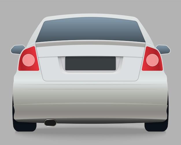 Vista posteriore della macchina bianca