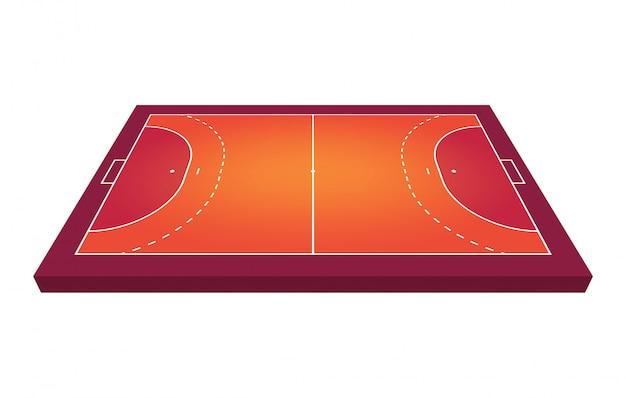 Vista prospettica campo per pallamano. profilo arancione dell'illustrazione del campo di pallamano delle linee.