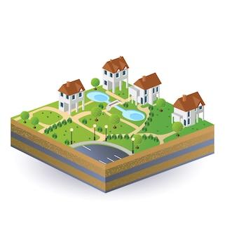 Vista prospettica delle case del villaggio nel vettore
