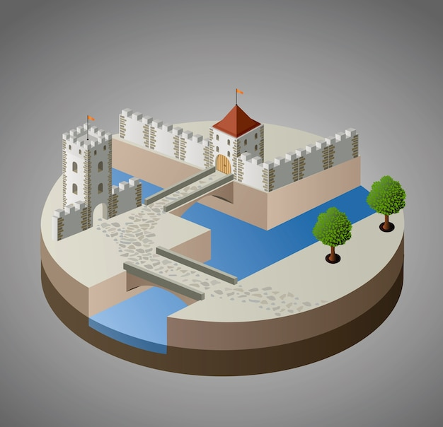 Vista prospettica di un castello medievale su uno sfondo grigio