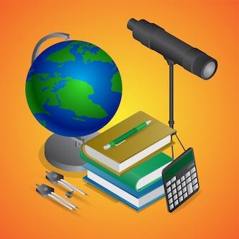 Vista realistica del basamento del globo del mondo con la bussola del telescopio, dei libri, del calcolatore e del disegno