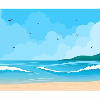Vista sul mare con l'illustrazione della riva e delle nuvole dell'oceano