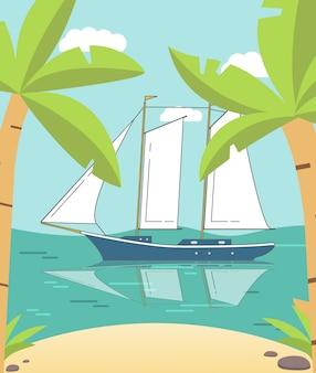 Vista sul mare di estate con le palme e uno yacht a vela.