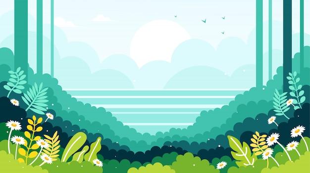 Vista sull'oceano sul bordo dell'illustrazione foresta