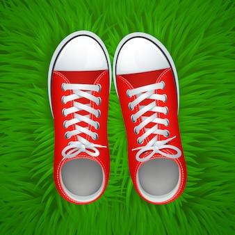 Vista superiore dei gumshoes rossi funky sull'illustrazione di vettore del fondo dell'erba