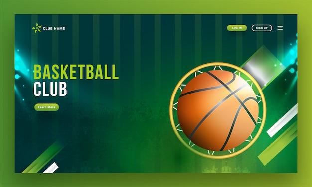 Vista superiore del cerchio di pallacanestro con la palla sul backgrou verde astratto