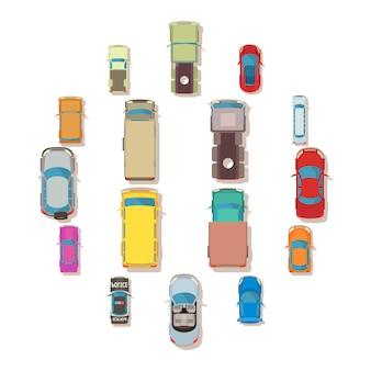 Vista superiore dell'automobile sopra le icone messe, stile piano