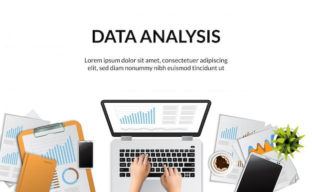 Vista superiore dell'illustrazione di concetto del rapporto di analisi dei dati commerciali della mano che scrive sul computer portatile