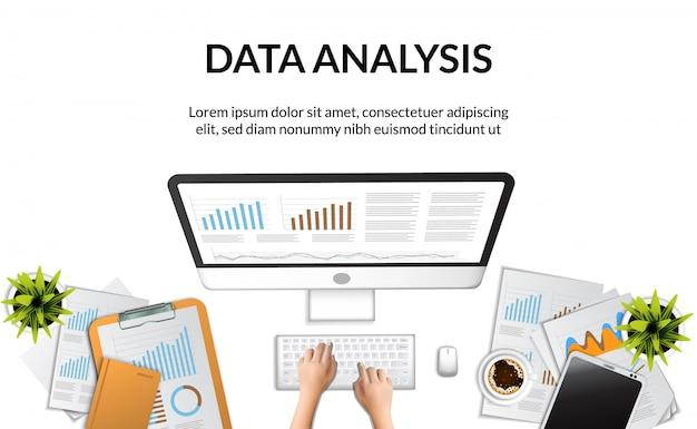 Vista superiore dell'illustrazione di concetto del rapporto di analisi dei dati di affari della mano che scrive sul computer