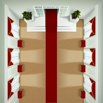 Vista superiore dell'interno del foyer del club o dell'hotel del teatro con il banquette del tappeto rosso