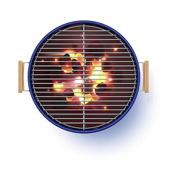 Vista superiore della griglia aperta blu rotonda del barbecue realistica