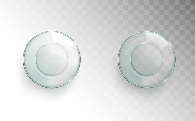 Vista superiore della tazza di vetro vuota, glassful per l'insieme dell'acqua
