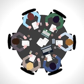Vista superiore di riunione d'affari