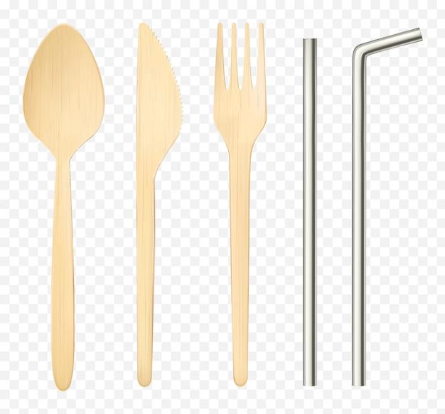 Vista superiore isolata forchetta di legno, coltello cucchiaio e cannucce in acciaio