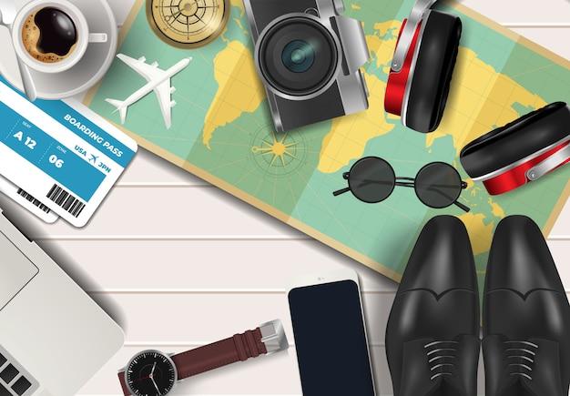 Vista superiore sul concetto di vacanze e viaggi sopra fondo di legno