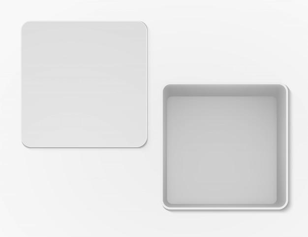 Vista superiore vuota aperta scatola bianca