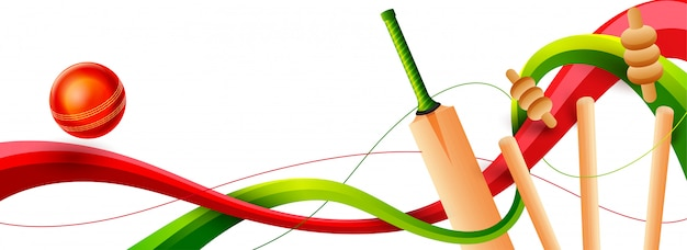 Vista vicina dei wickets, del pipistrello e della palla di cricket su fondo bianco. intestazione web o banner de