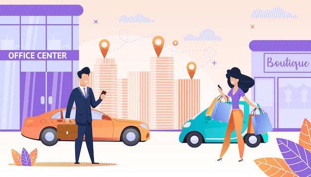 Visualizza streets big city con le persone che utilizzano un'app