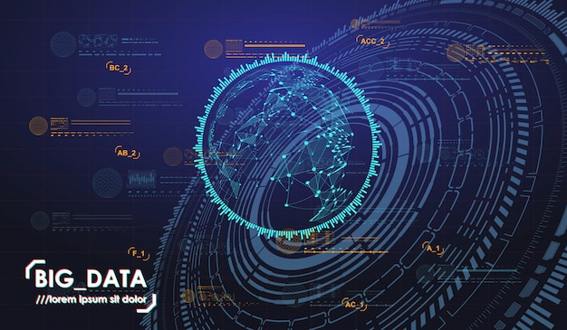 Visualizzazione astratta di big data. estetica futuristica. sfondo di big data con elementi hud.