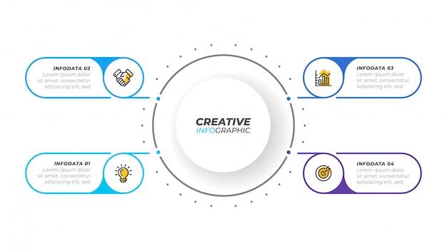 Visualizzazione aziendale elementi di design infografico per presentazione