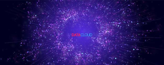 Visualizzazione cloud di big data. infografica futuristica. informatica cloud computing. complessità dei dati visivi. analisi di grafici aziendali complessi. rappresentazione dei social network. grafico astratto dei dati.