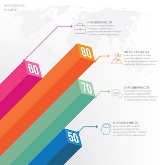 Visualizzazione dati 3d elemento infografica
