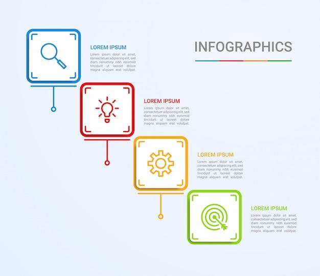 Visualizzazione dei dati aziendali, modello di infografica con 4 passaggi