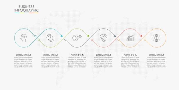 Visualizzazione dei dati aziendali. modello di infografica timeline
