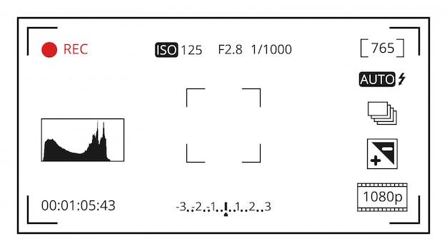 Visualizzazione della messa a fuoco del mirino della fotocamera con modello di icone di controllo fotografico
