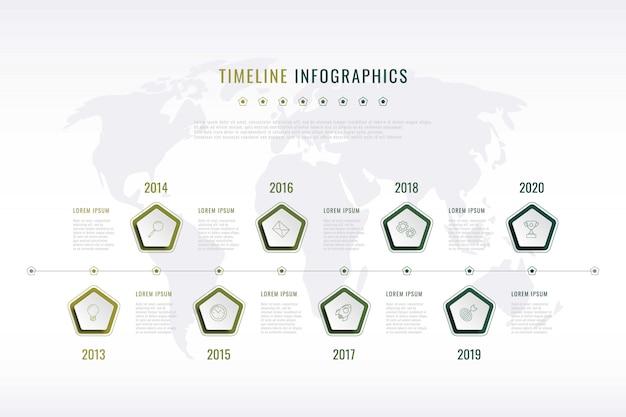 Visualizzazione della storia aziendale moderna con elementi pentagonali