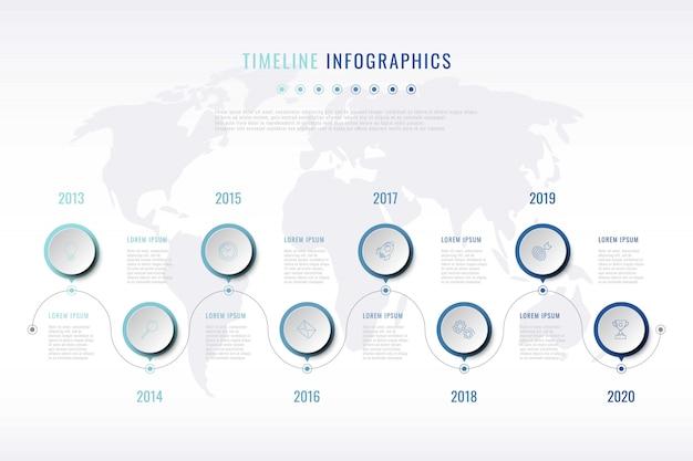 Visualizzazione della storia dell'azienda moderna con icone di marketing di linea sottile
