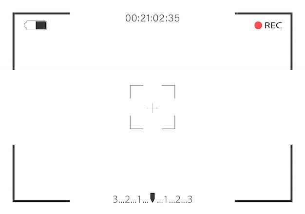 Visualizzazione della videocamera e messa a fuoco video di registrazione dello schermo. illustrazione.