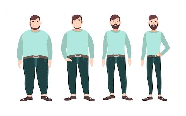 Visualizzazione delle fasi di perdita di peso del personaggio dei cartoni animati maschile, dal grasso al magro. concetto di cambiamento del corpo attraverso dieta, alimentazione sana e sport. illustrazione.